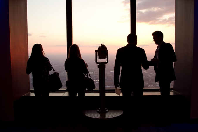 beautiful sunset silhouette, private corporate event photography, downtown chicago