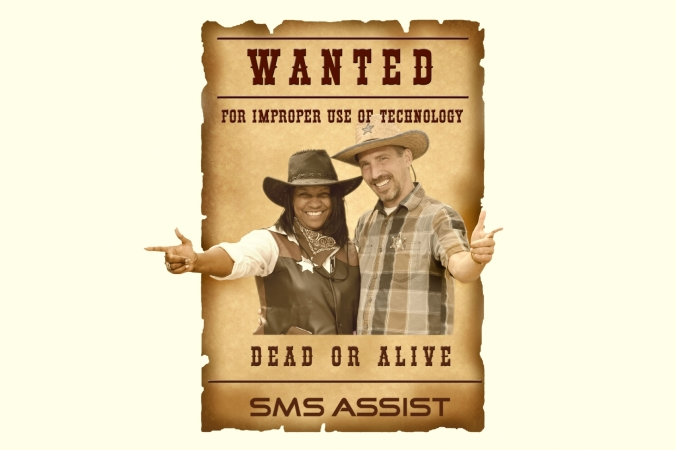 Photo activity for SMS Assist makes guests look like an old fashioned Wanted Poster
