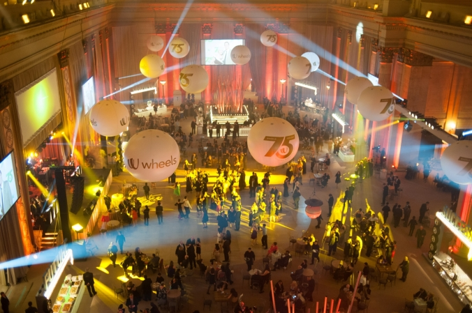 great overview photo of wheels 75th anniversary party at union station chicago, fab photo
