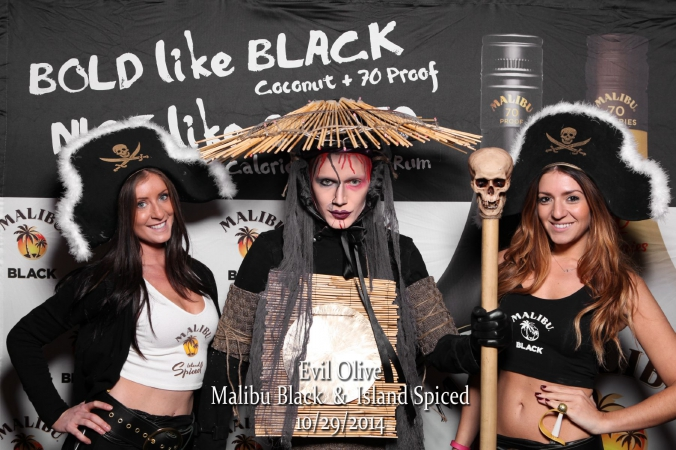step and repeat photo activity with onsite printing for malibu black rum, halloween, evil olive, chicago