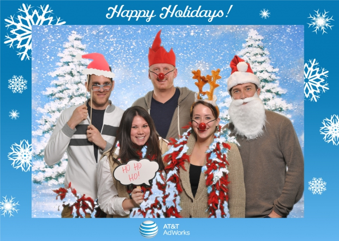 at&t green screen photo activity with onsite photo prints for holiday party in detroit