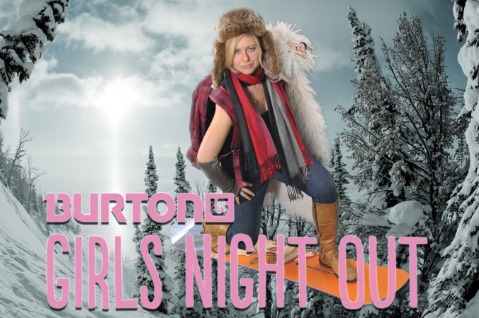 smoking hot she warrior at burton snowboards girls night out, green screen photo printed on-site