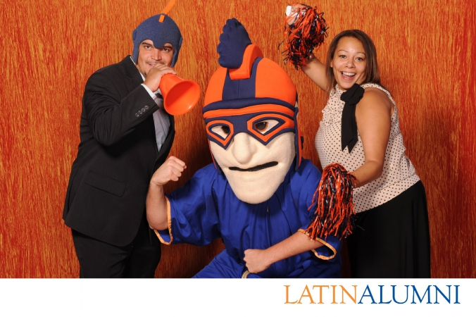 latin alumni photobooth featuring logo branding, studio lighting, and onsite instant photo printing