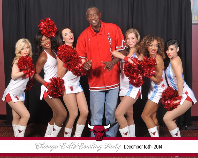 Bob Love poses with the Luvabulls, 8x10 photo printed onsite instantly by Fab Photo