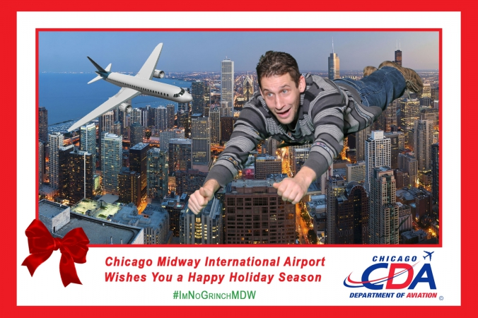 logo branded photo activity 2014 holidays, chicago midway airport with green screen, onsite prinitng, and instant social media