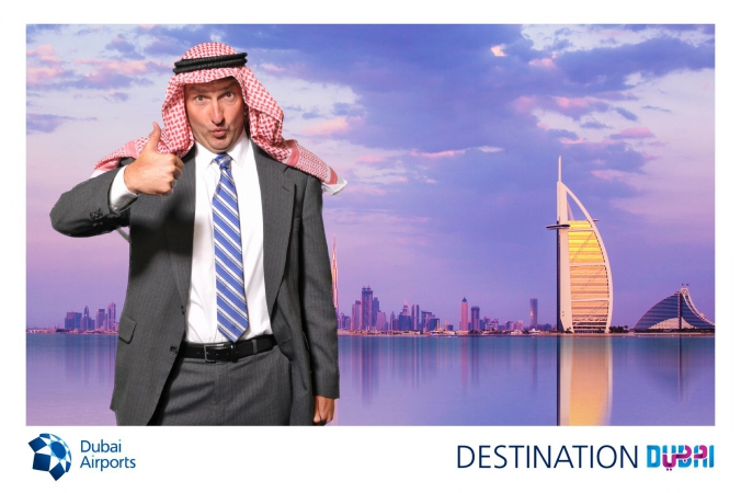 destination dubai green screen photo postcard printed instantly onsite, world routes 2014 conference mccormick place chicago