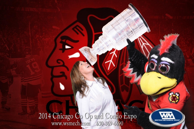 green screen photo activity with onsite printing, 2014 chicago co op condo expo at navy pier, featuring tommy hawk from chicago blackhawks