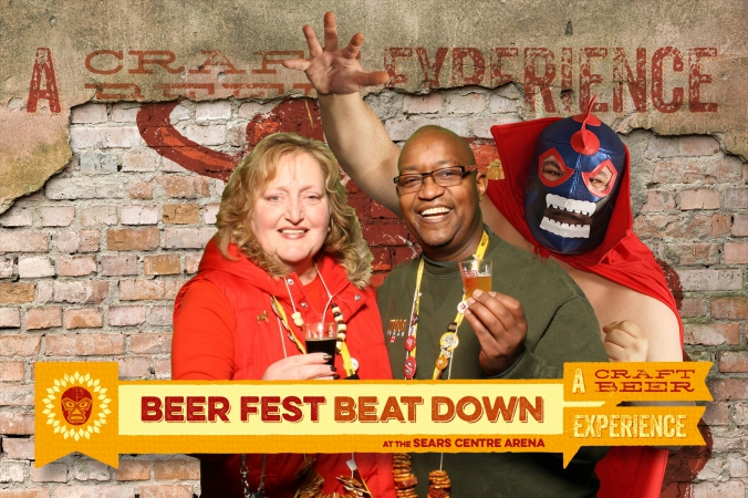 photo print souvenir from beer fest beat down, green screen social media photo booth with photo printed and emailed onsite
