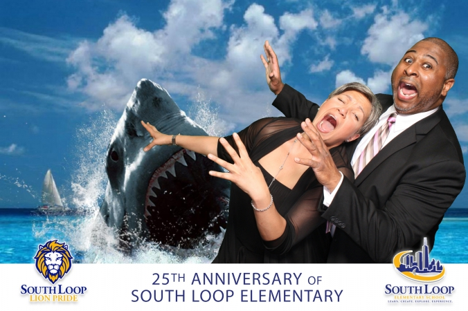 shark attack funny photo from south loop elementary school photobooth activity at 25th anniversary fundraising event