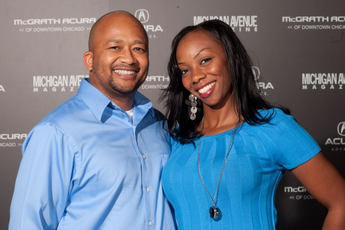 couple photo, Michigan Avenue Magazine, McGRATH Acura Chicago Grand Opening, print-onsite step repeat photobooth