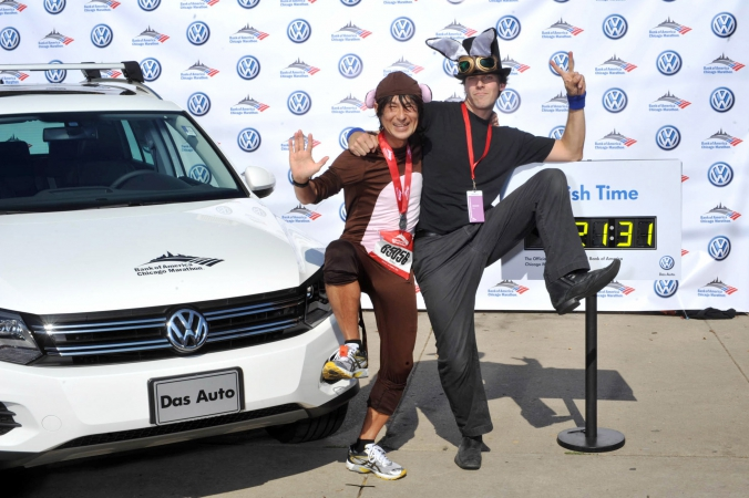 man in monkey suit finish line chicago marathon, step repeat photography sponsored by volkswagen, fab photo chicago