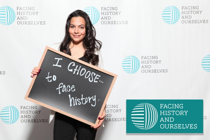 Step and Repeat photo from Facing HIstory and Ourselves event