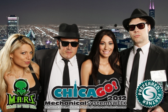 blues brothers pose with tradeshow models at greens screen photobooth, schaumburg renaissance convention center